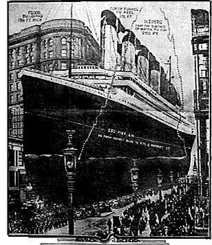 Titanic photo overlaid on picture of San Francisco's Market St. to give sense of the size of the vessel