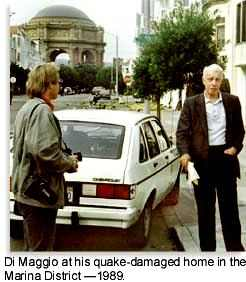 Joe Di Maggio at his earthquake-damaged home in San Francisco's Marina District