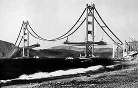 construction photo of Golden Gate bridge decking