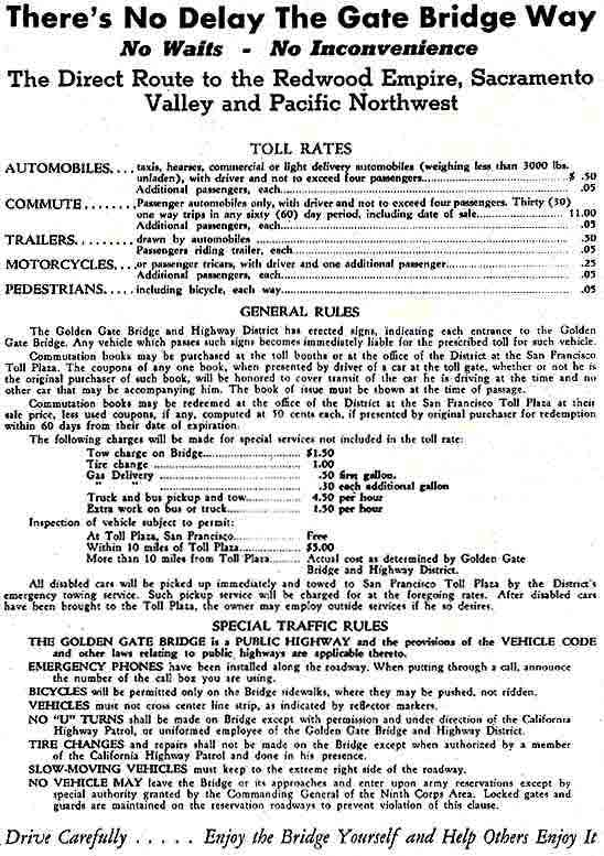 1937 rate for Golden Gate Bridge tolls, and general rules of the bridge district