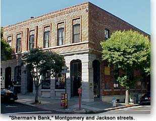 Photograph of Sherman's bank at Montgomery and Jackson streets