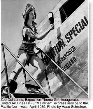 Zoe Del Lantis, Exposition Theme Girl with United Airlines Mainliner DC3 - April 1939