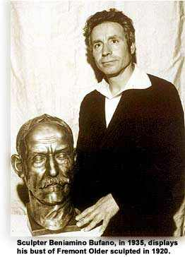 Sculptor Benny Bufano with is bust of Fremont Older