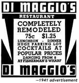 1941 advertisement for Di Maggio's Grotto at Fisherman's Wharf
