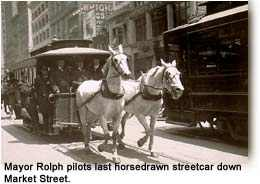 Mayor James Rolph drives last horse car down Market Street.