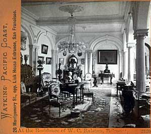 interior of the Belmont home of William Chapman Ralston