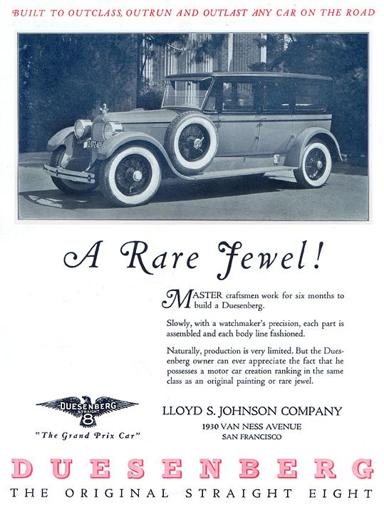 Reproduction of a 1925 Duesenberg automobile advertisement