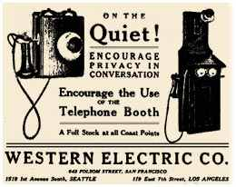 advertisement for Western Electric telephone booth service