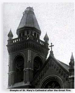 Photo of the cut away portion of the spire of St. Mary's Cathedral San Francisco