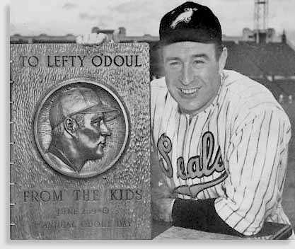 O'Doul with plaque from the kids at June 2, 1940 Kids' Day at Seals' Stadium