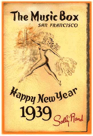 rare 1939 cover of menu from the Music Box, Sally Rand's nightclub at 859 O'Farrell St.