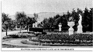 Photo of flower vases and entrance to Sutro Heights